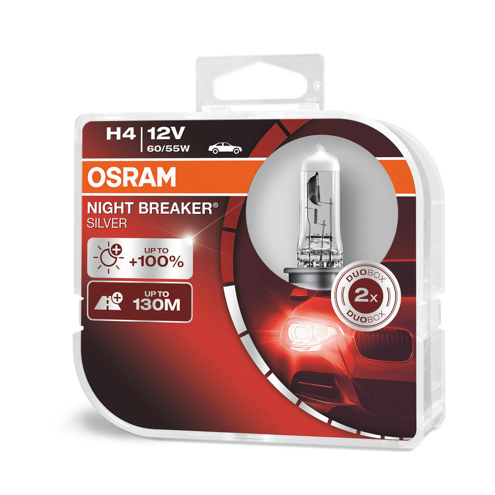 Osram H4 Night Breaker SILVER Upgrade Headlight Bulbs (x2) 64193NBS-HCB 472