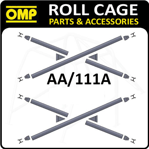 AA/111A OMP UN-WELDED DOOR BAR X-BRACE CROSS REINFORCEMENTS FIA APPROVED - PAIR!