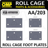 AA/203 OMP ROLL CAGE FIXING FOOT PLATES WELD IN FRONT/REAR - FIA APPROVED!