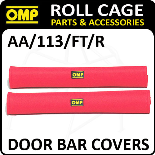 AA/113/FT/R OMP ROLL CAGE DOOR BAR COVERS 50cm RED VELOUR + VELCRO CLOSING!