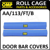 AA/113/FT/B OMP ROLL CAGE DOOR BAR COVERS 50cm BLUE VELOUR + VELCRO CLOSING!