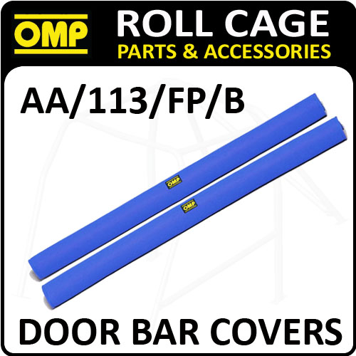 AA/113/FP/B OMP ROLL CAGE DOOR BAR COVERS 100cm BLUE VELOUR + VELCRO CLOSING!