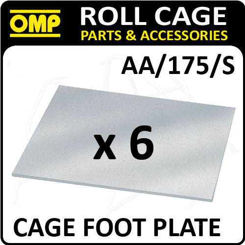 AA/175/S OMP ROLL CAGE 3mm FLAT FOOT PLATES PACK (x6) FIA APPROVED RACE/RALLY