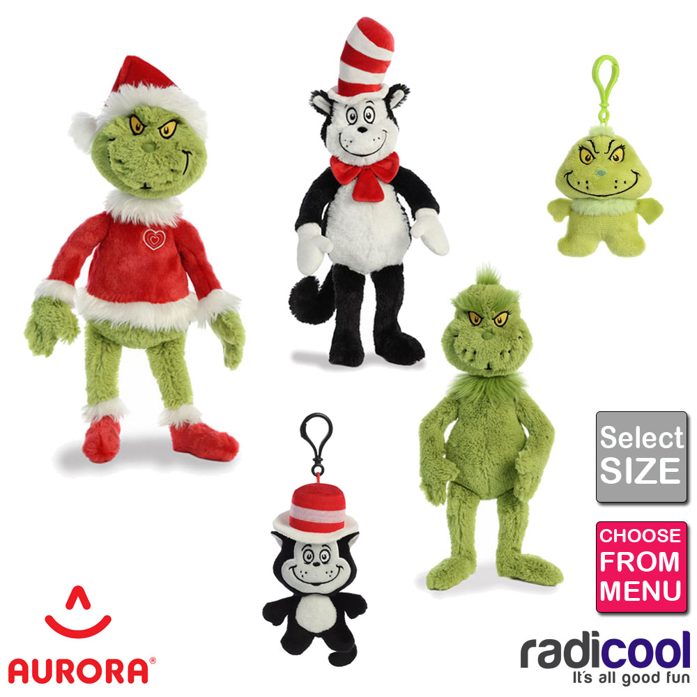 Details about Aurora Dr.Seuss The Grinch Cat in the Hat ALL SIZES PLUSH Cuddly Soft Toy Kids
