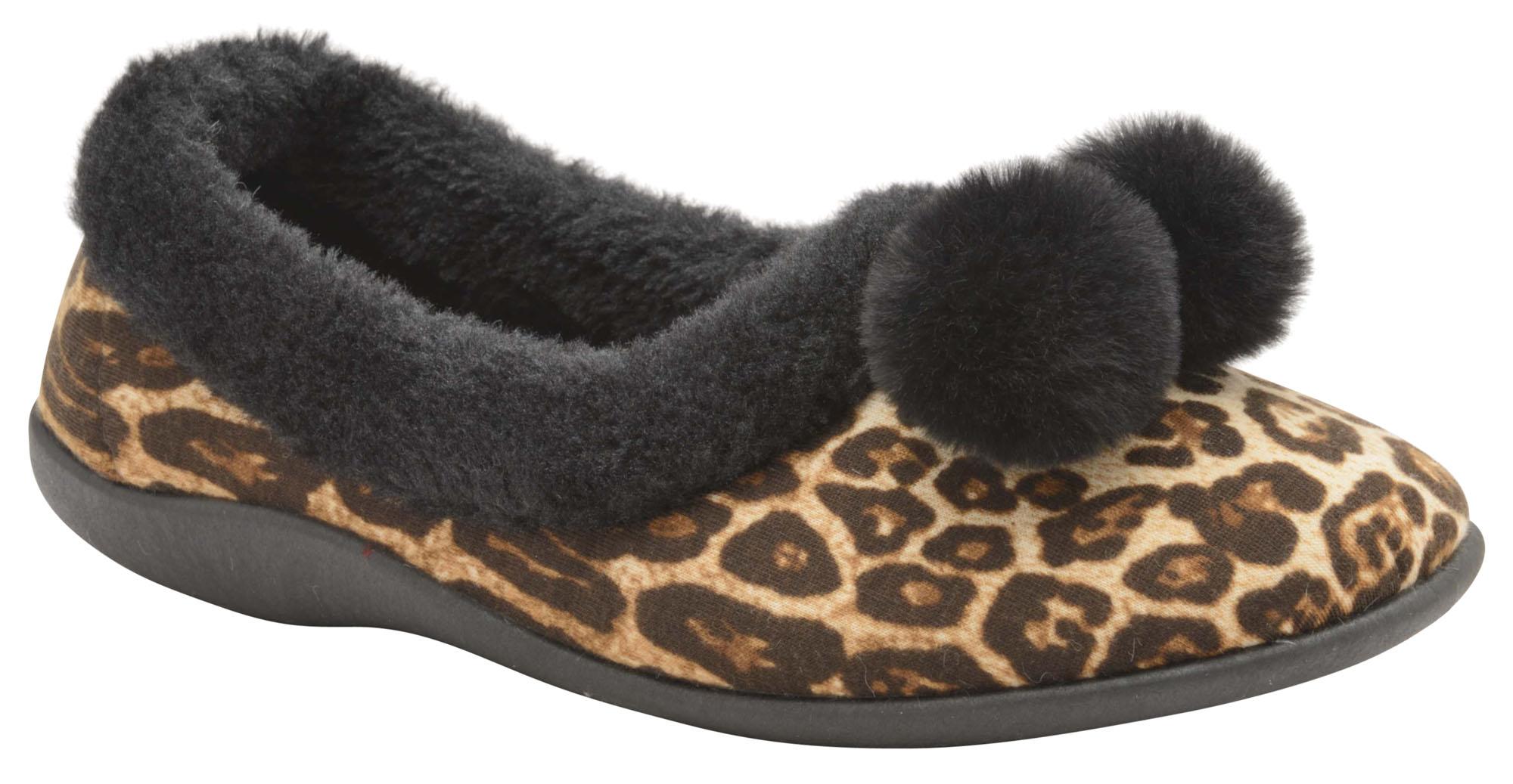 Dunlop Ladies Womens Slippers Leopard Print Memory Foam Faux Fur Collar Size 3-8