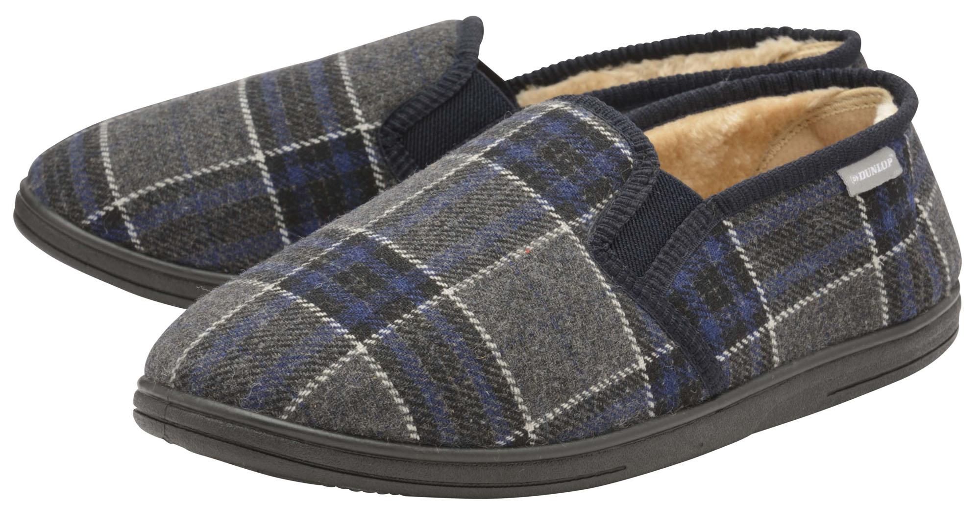 Dunlop Mens Slippers Slip On Twin Gusset Fur Lined Memory Foam in Sock Size 8-13