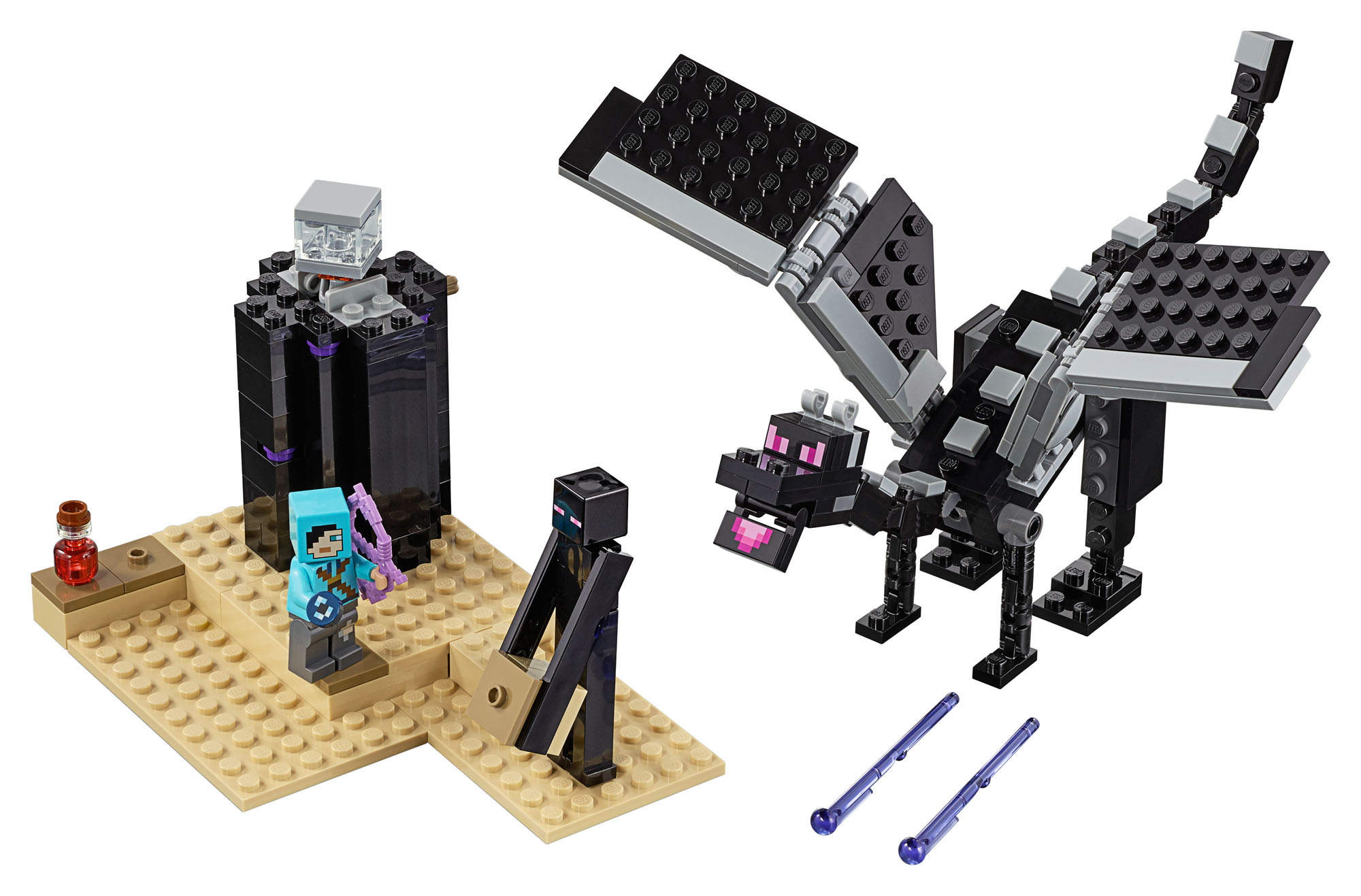 LEGO 21151 Minecraft The End Battle Slayer Minifigure and Buildable Dragon Action Figures Building Set, Toys for Kids 7 Years Old and Older