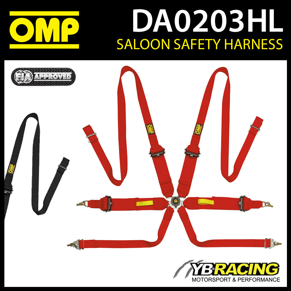 DA0203HL OMP RACING HARNESS SALOON PULL UP 6-POINT FHR FIA 8853/2016 MOTORSPORT