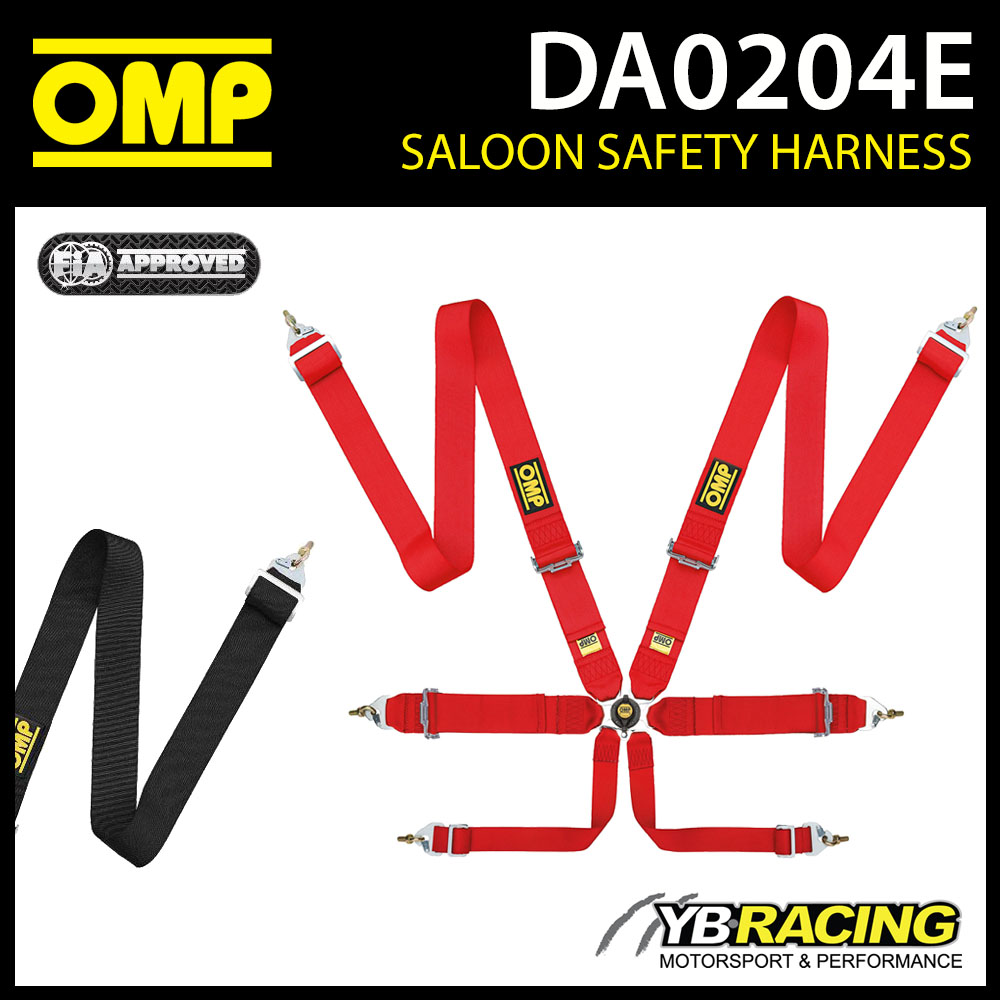 DA0204E OMP RACE HARNESS ENTRY LEVEL LIGHTWEIGHT PULL UP 6-POINT FIA 8853-2016