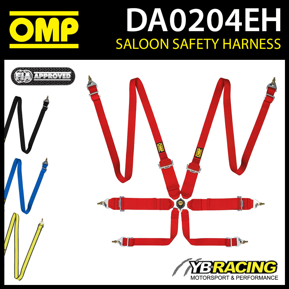 DA0204EH OMP RACE HARNESS 2/3in BELTS LIGHTWEIGHT PULL UP 6-POINT FIA 8853/2016