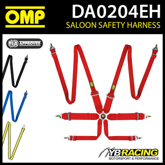 DA0204EH OMP RACE HARNESS 2/3in BELTS LIGHTWEIGHT PULL UP 6-POINT FIA 8853-2016