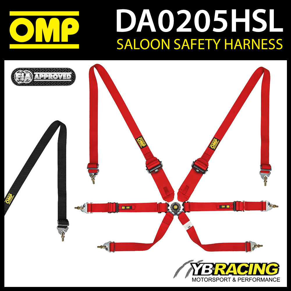DA0205HSL OMP RACING SAFETY HARNESS BELTS 6-POINT SALOON FHR ONLY FIA 8853/2016