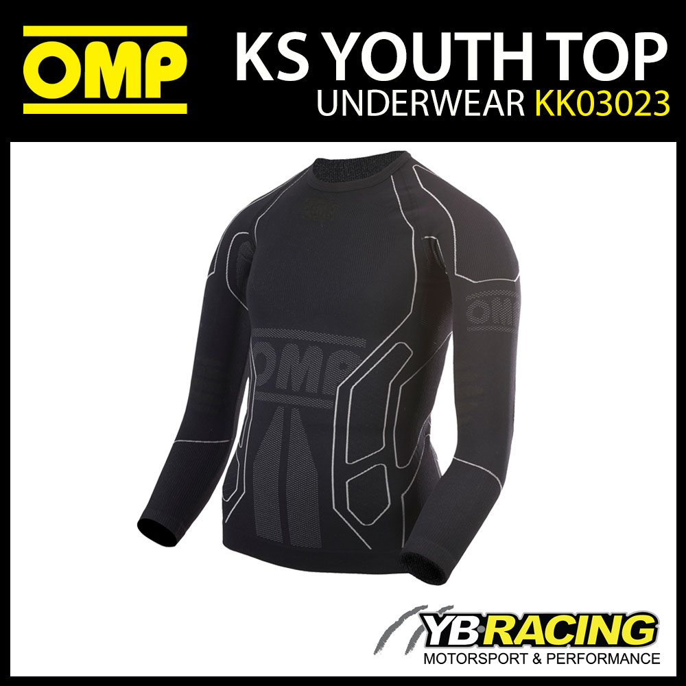 NEW KK03023 OMP KS YOUTH TOP LONG SLEEVE KARTING UNDERWEAR T-SHIRT CADET CHILDREN