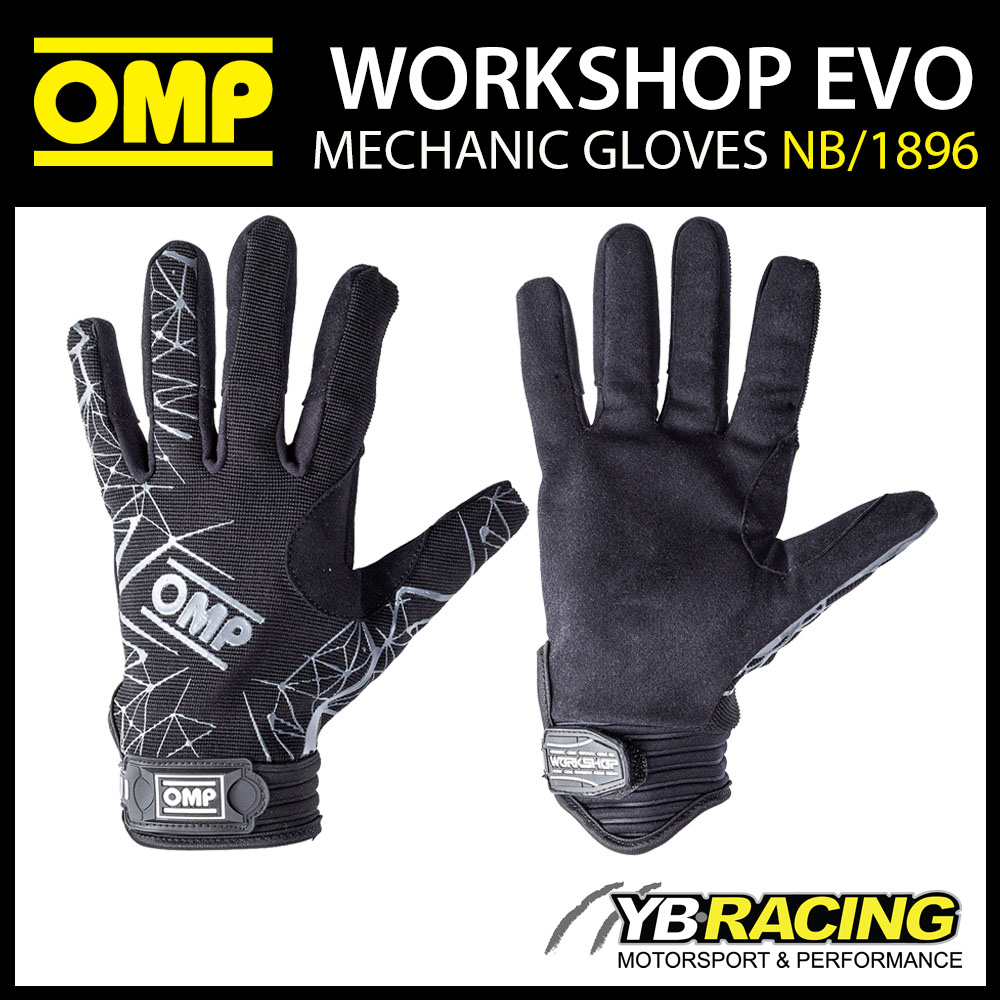 NB/1896 OMP WORKSHOP EVO RACE MECHANIC GLOVES for PIT CREW GARAGE TEAMWEAR