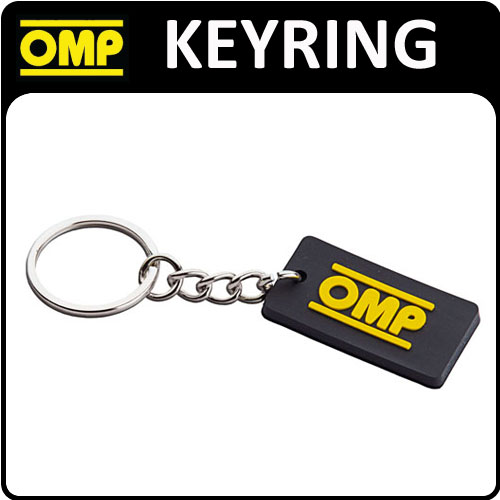 PR881 OMP RACING RALLY FAN RUBBER KEYRING KEY CHAIN BLACK WITH OMP LOGO!