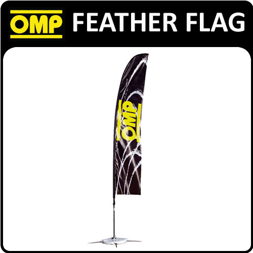 PR906 OMP RACING FEATHER SHOW FLAG inc BASE & ROD 52x245cm for MOTORSPORT EVENTS