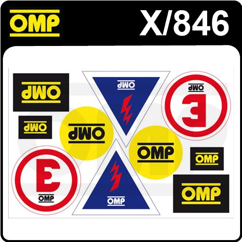 X/846 OMP MOTORSPORT ASSORTED STICKER SHEET (10 DECALS)