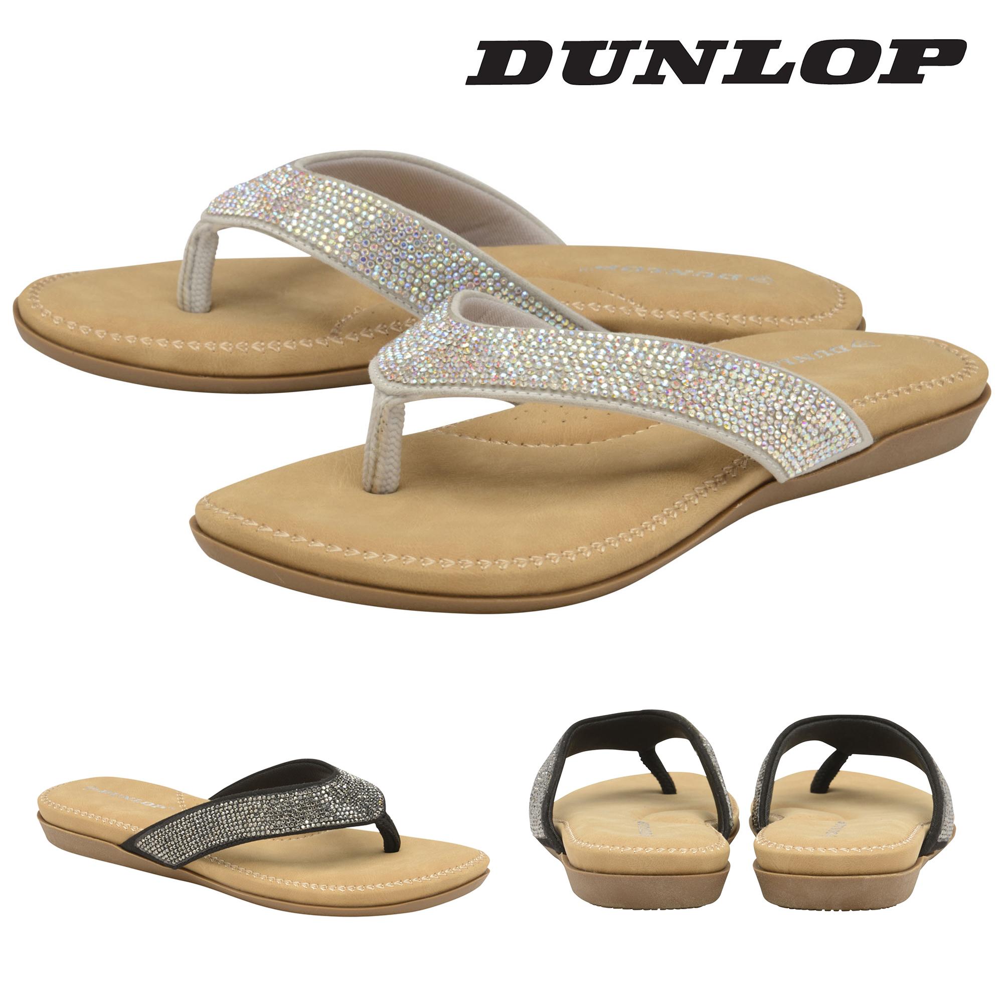 Dunlop Ladies Womens Slip On Toe Post Sandals Flip Flops -6762