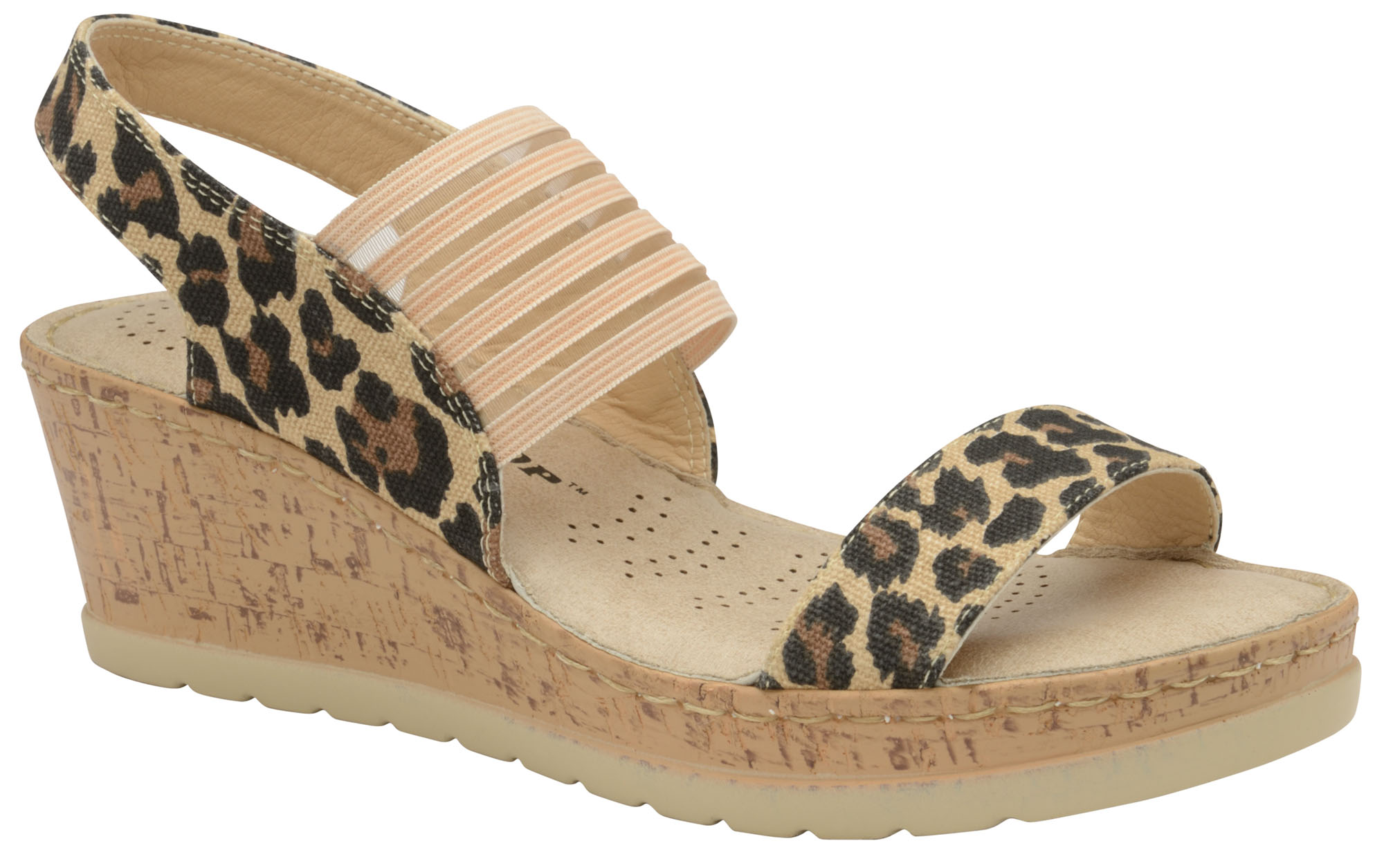 Details about Dunlop Ladies Womens Slip On Strappy Wedge Sandals Leopard Print Shoes Sizes 3 8