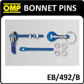 EB/492/B OMP RACING QUICK RELEASE BONNET PINS BLUE ALUMINIUM - PACK OF 2