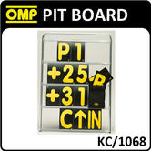 KC/1068 OMP ALUMINIUM PIT BOARD 100x72cm WITH 42 CARDS 23X14cm RACE/TRACK/KART
