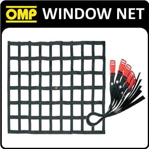 NA/1870/TN OMP WINDOW SAFETY NET FIA APPROVED BLACK! 60x60mm for RACING CARS