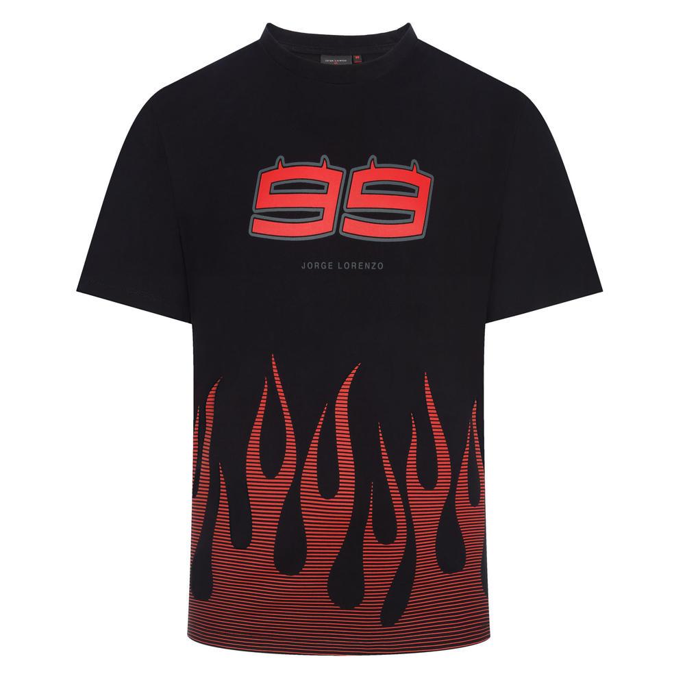 2019 Jorge Lorenzo #99 FLAMES Mens T-Shirt Black Official MotoGP Merchandise