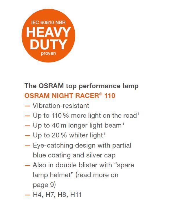 Osram Night Racer® Performance Motorbike Bulbs Motorcyle Headlight H4 H7 H8 H11