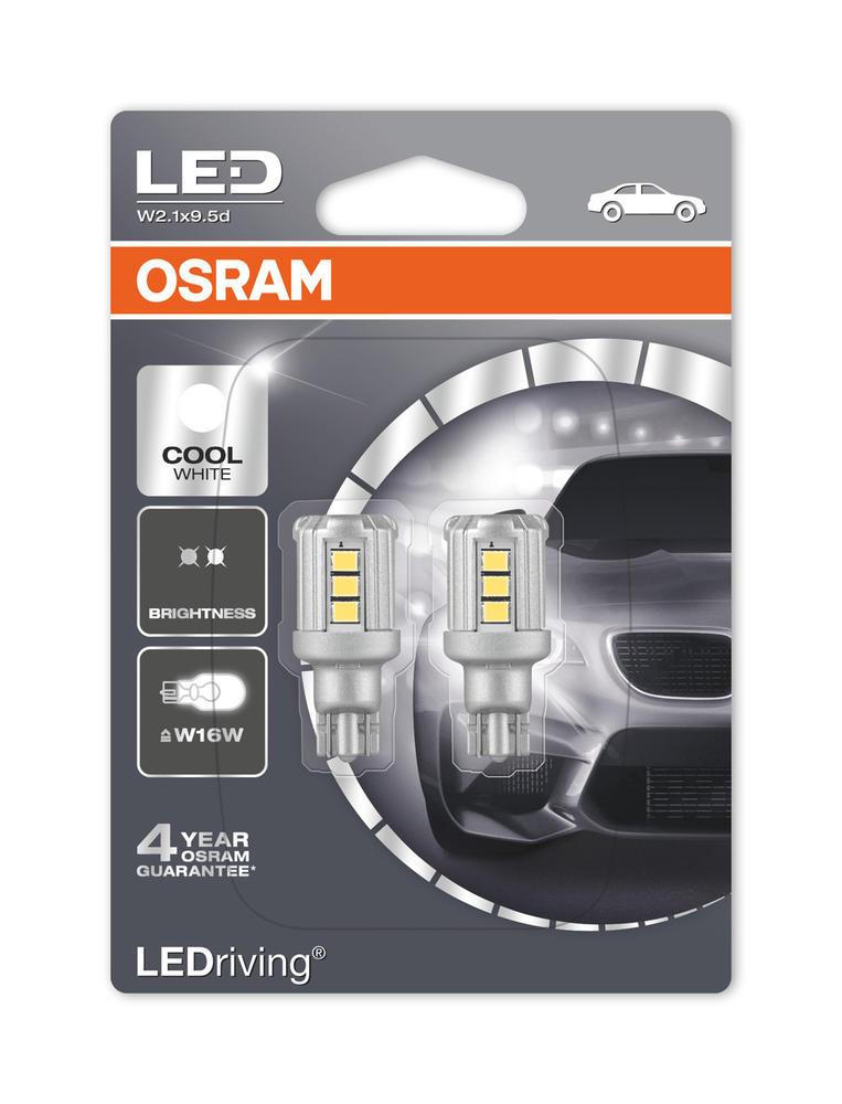 Osram LED 921 Cool White 6000K Bulbs W16W (T16) Wedge 12V 1.8W 9212CW-02B