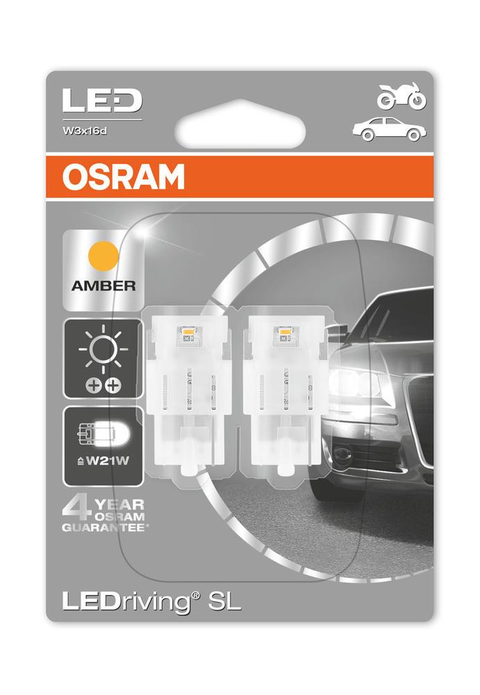 Osram LED Indicator Bulbs 582/382W Amber W21W Wedge W3x16d T20 12V 1W 7706YE-02B