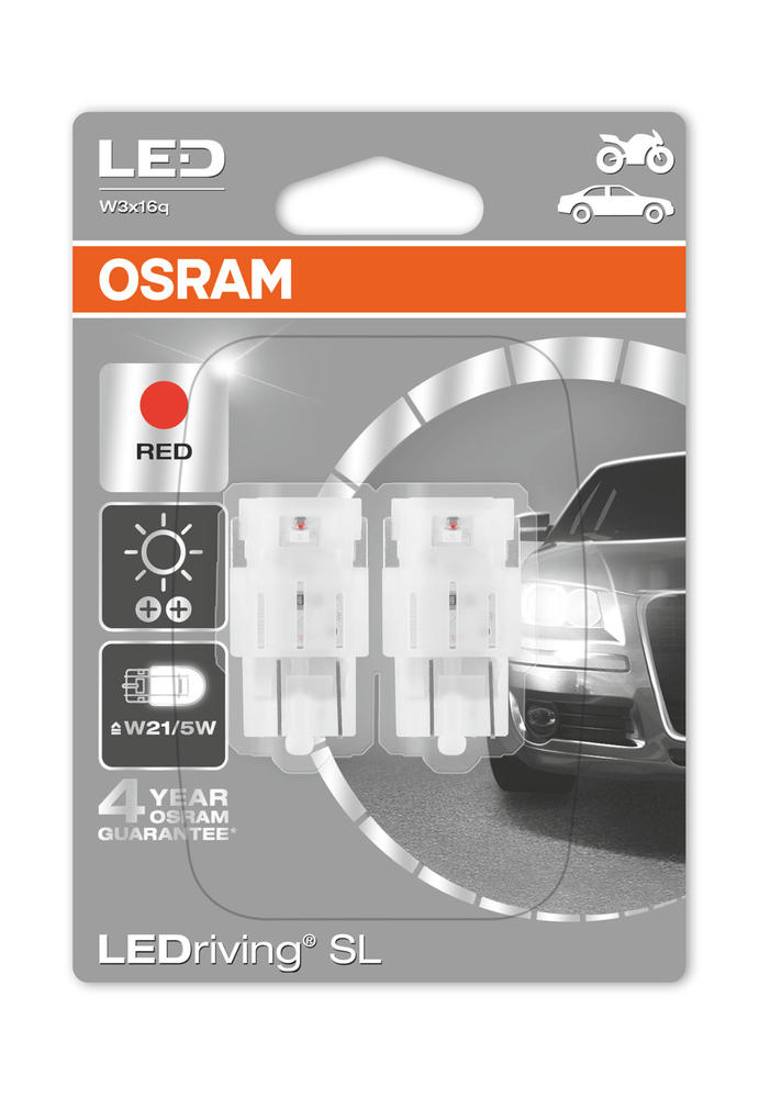 Osram LED W21/5W T20 DC Red Brake Light Bulbs 580 W3x16q Wedge 1.7W 7716R-02B