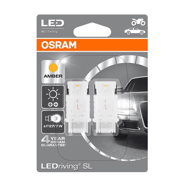 Osram LED Amber Orange Bulbs P27/7W 180A (3157) S8W W2.5x16q Wedge 3548YE-02B