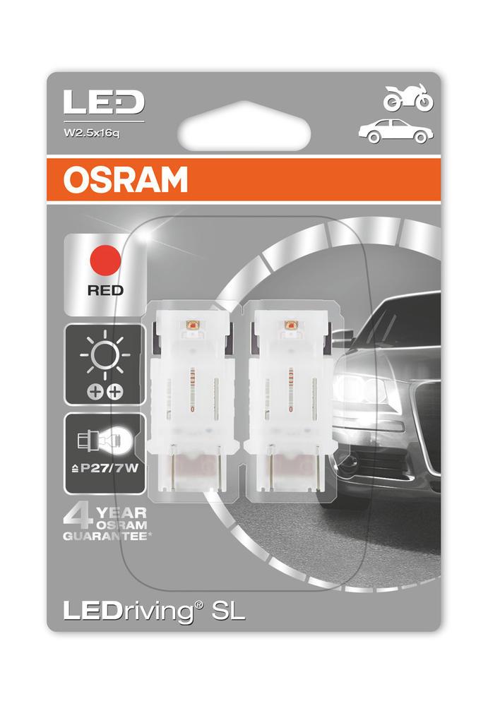 Osram LED Red Brake Light Bulbs P27/7W 180 (3157) S8W W2.5x16q Wedge 3548R-02B