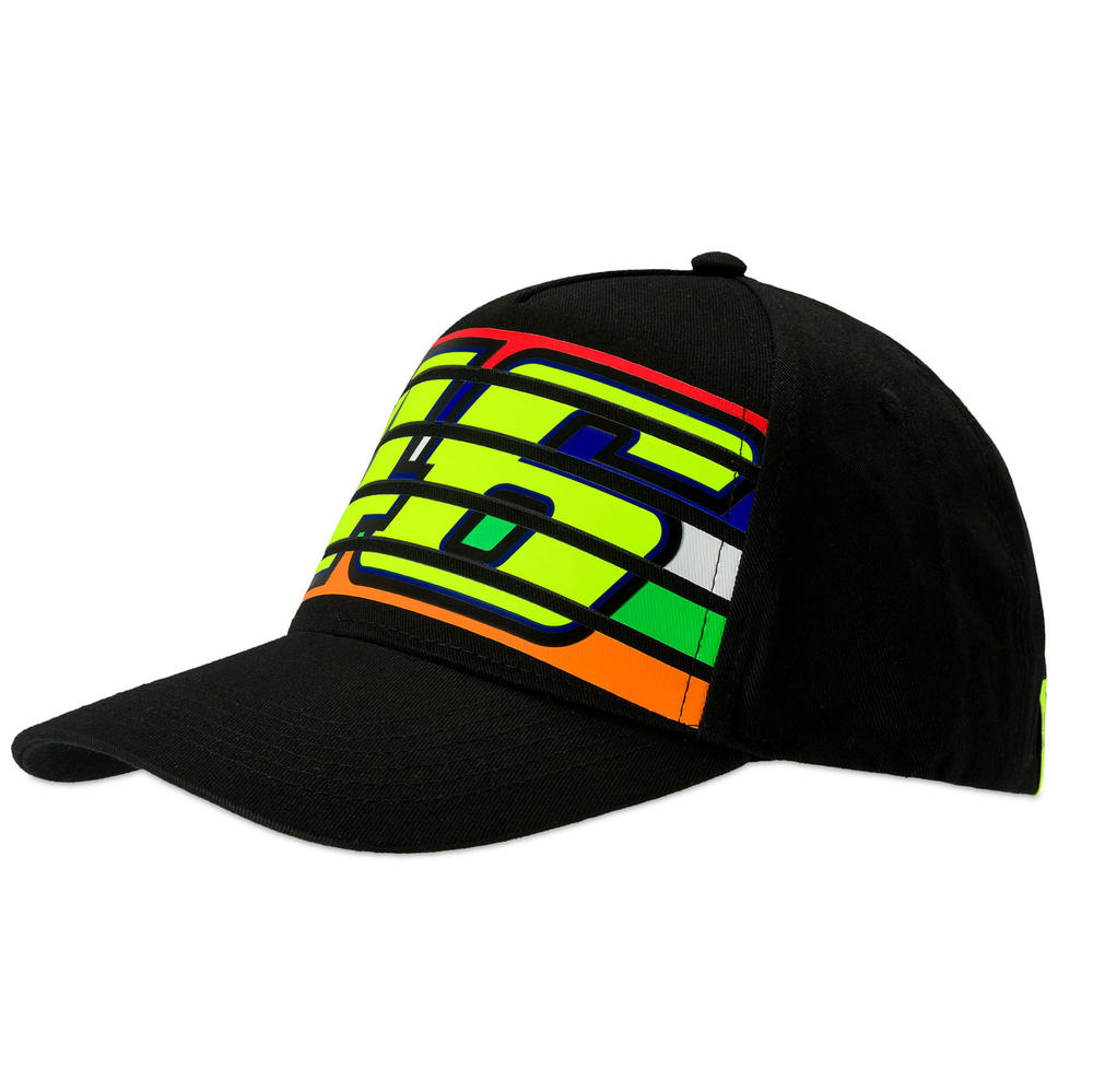 VR46 Valentino Rossi Black Stripes Baseball Cap Adult Size Official Merchandise