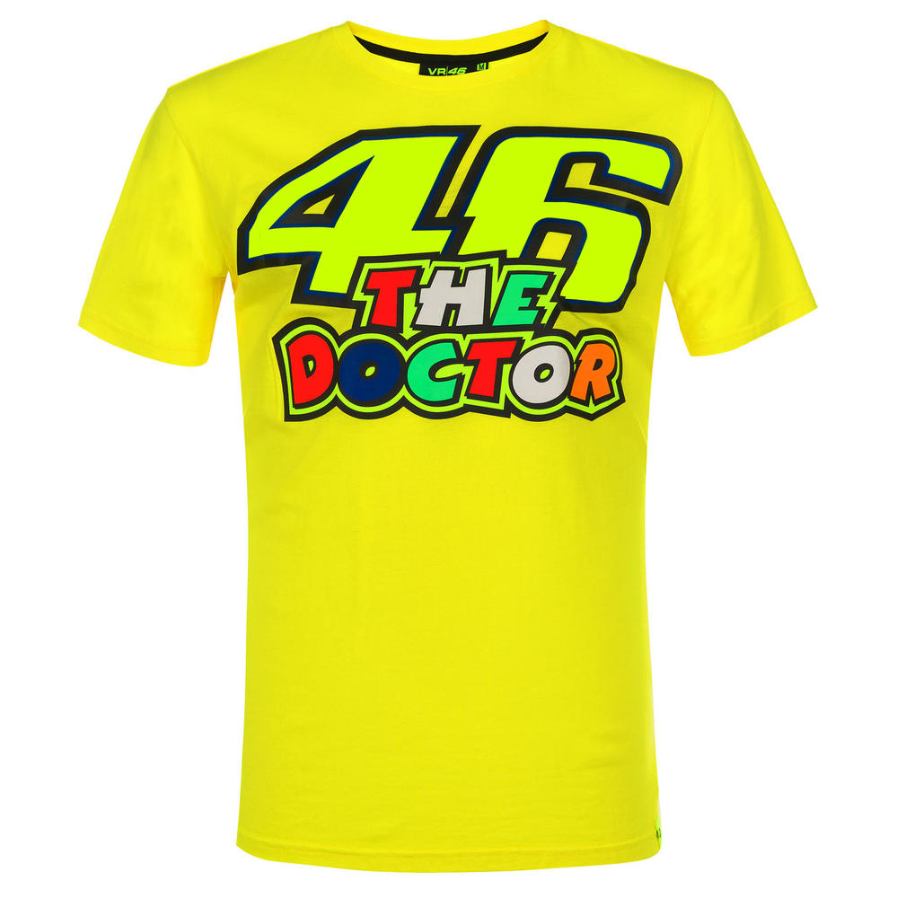 VR46 Valentino Rossi 46 THE DOCTOR Men's T-Shirt Yellow #46 Official Merchandise