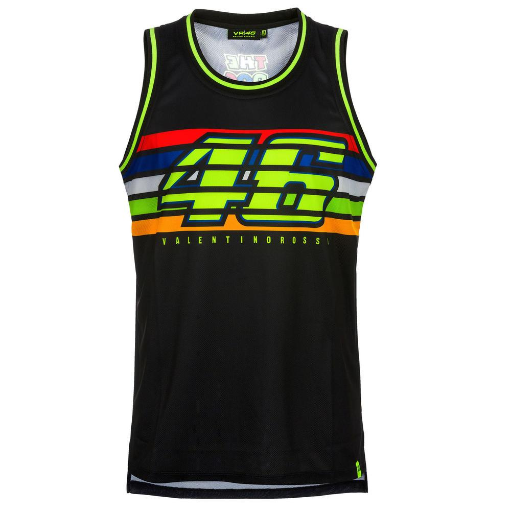 VR46 Valentino Rossi Mens Tank Top Black Striped Vest #46 Official Merchandise