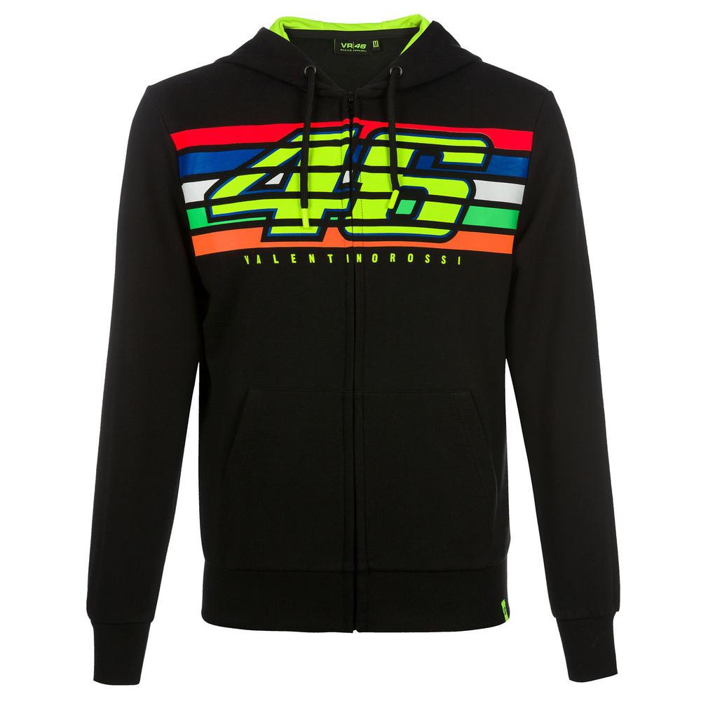 VR46 Valentino Rossi Mens Hoodie Zip Up Jacket Black Striped Hoody Sizes XS-XXXL