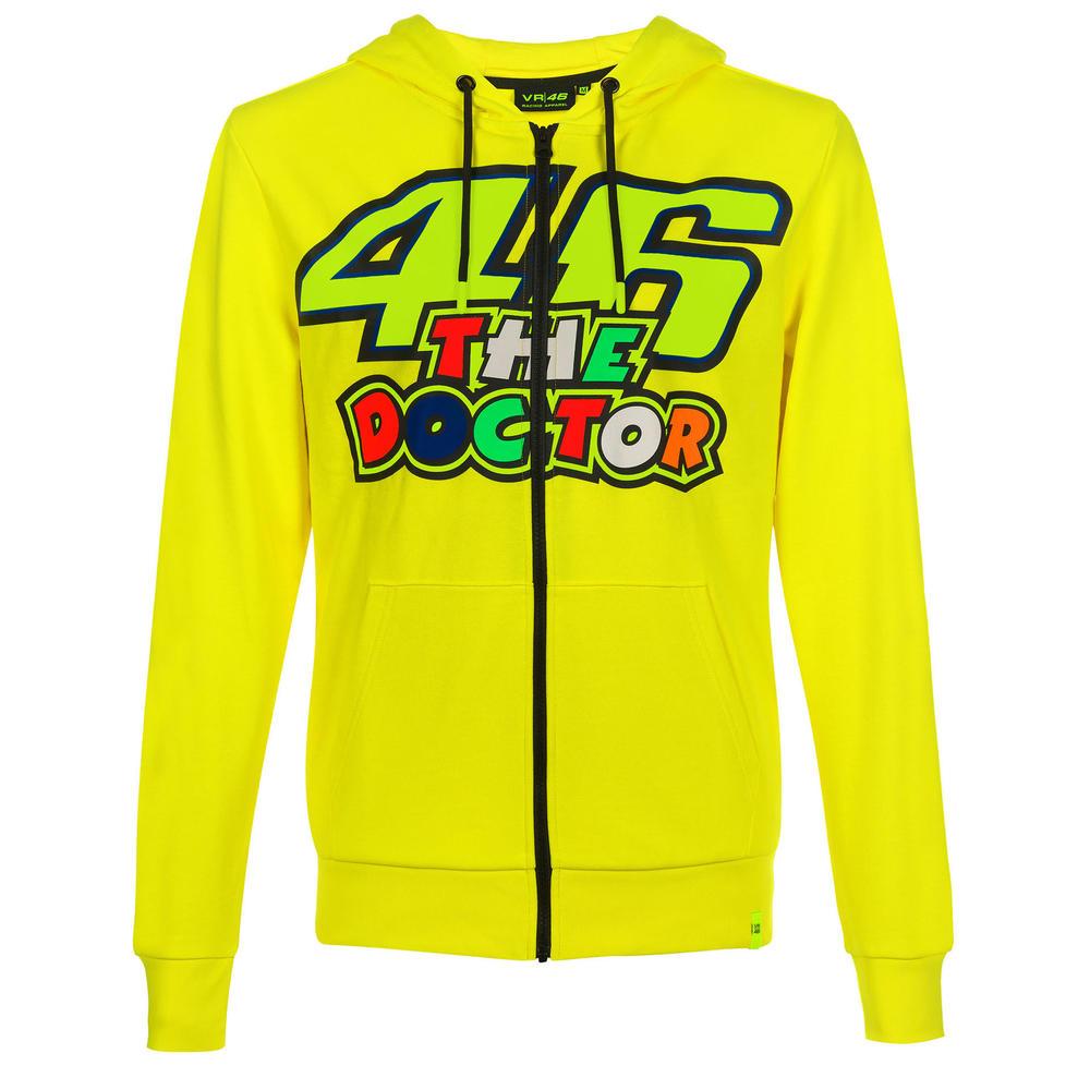 VR46 Valentino Rossi Mens Hoodie Zip Up Yellow #46 The Doctor Hoody Sizes XS-XXL