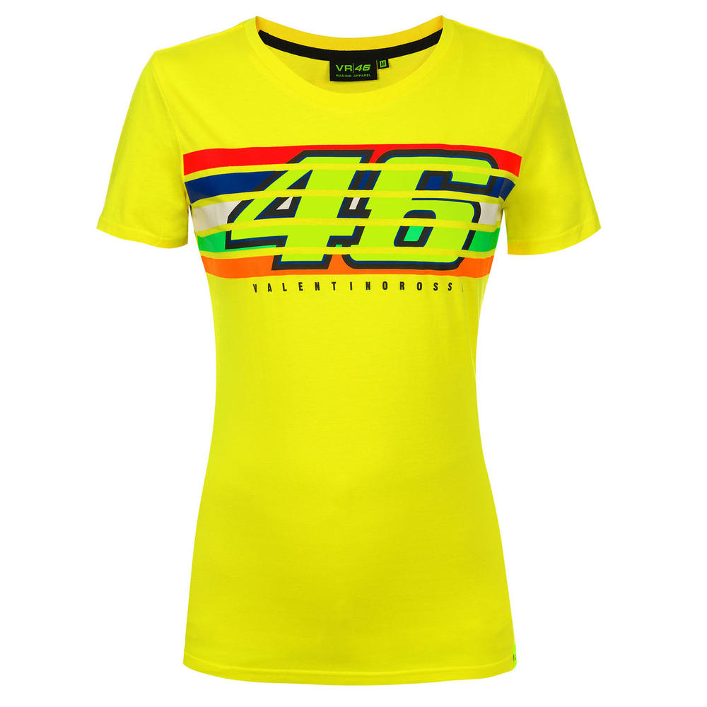 VR46 Valentino Rossi Ladies T-Shirt Womens Yellow Stripes Tee Girls Sizes XS-XL