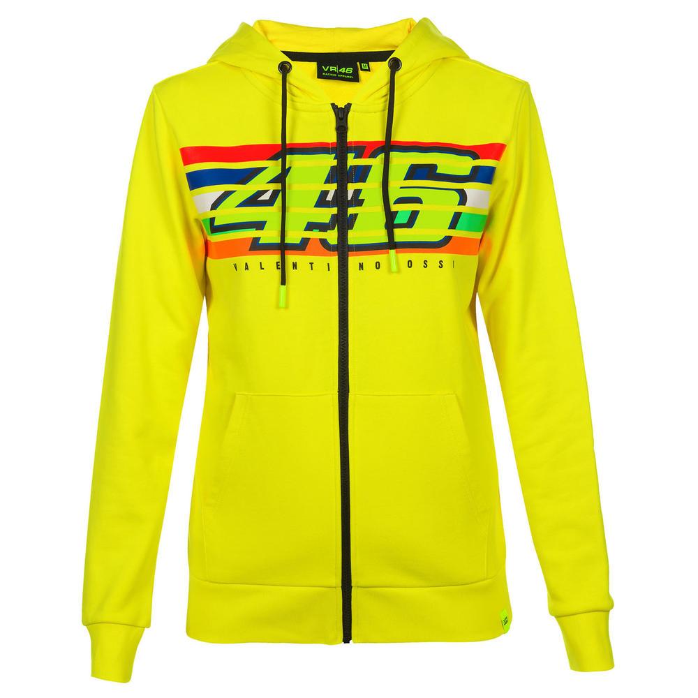 VR46 Valentino Rossi Ladies Hoodie Womens Yellow Stripe Hoody Girls Sizes XS-XL