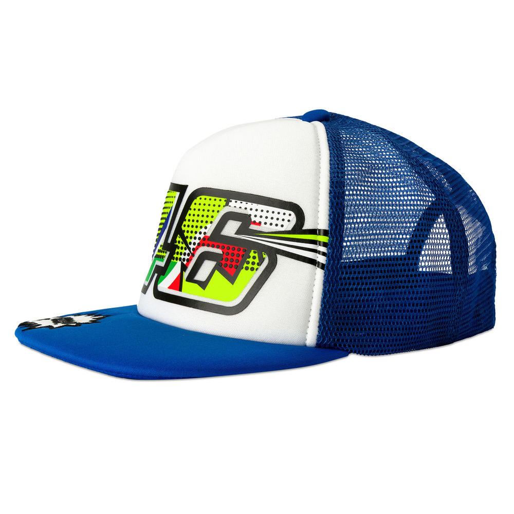 VR46 Valentino Rossi Kids Flatbrim Cap Childrens Pop Art Blue/White Junior Boys