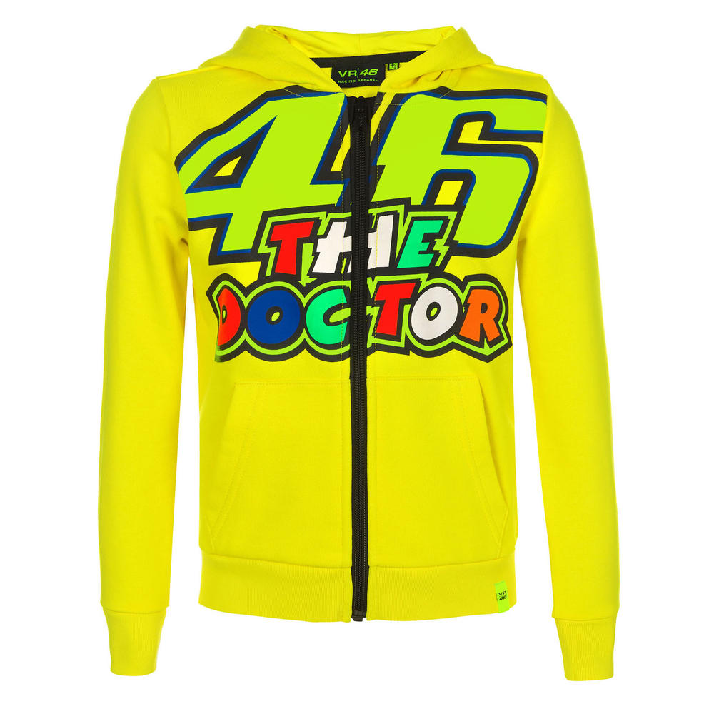 VR46 Valentino Rossi Kids 46 THE DOCTOR Zull Zip Hoodie Childrens Ages 1 to 14