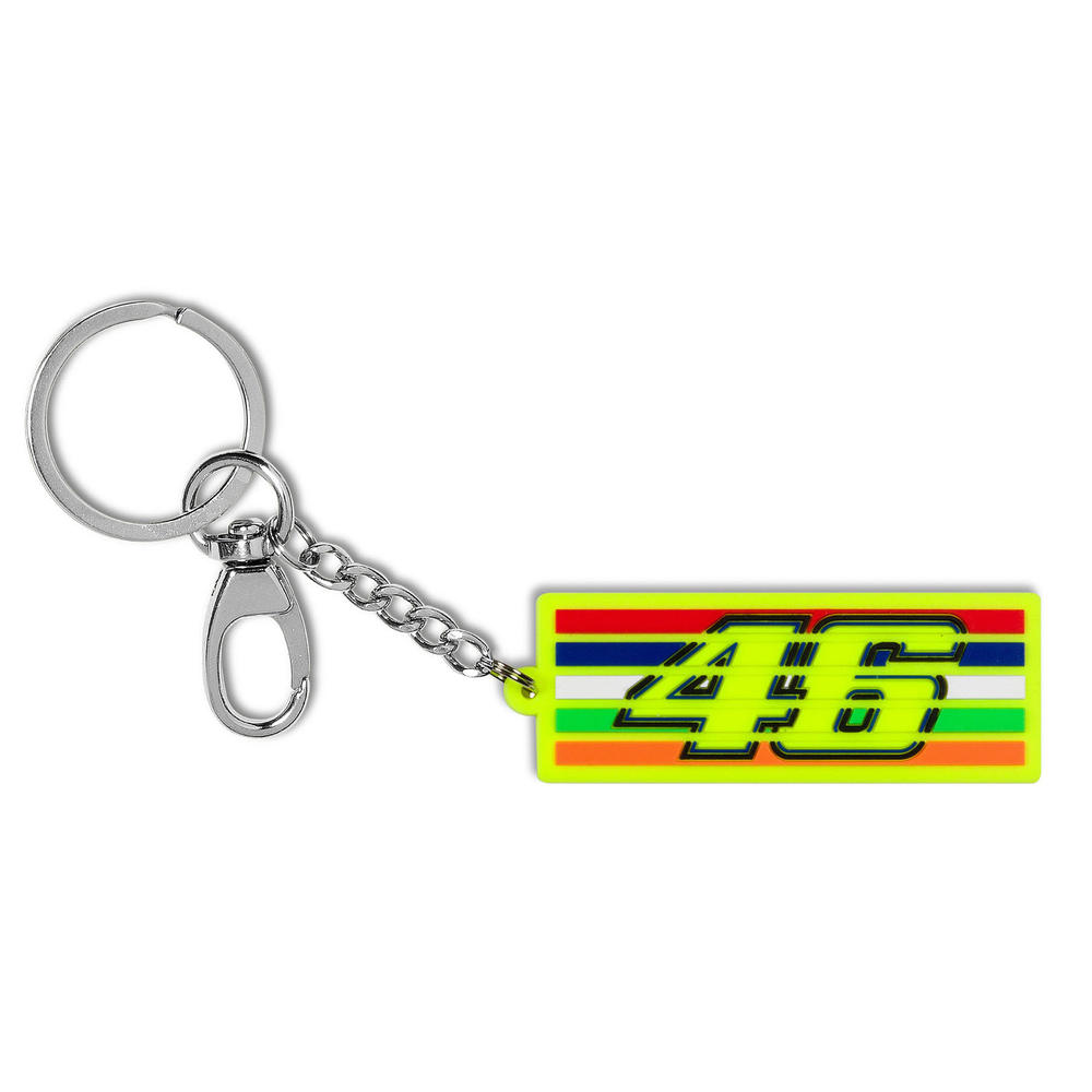 VR46 Valentino Rossi #46 STRIPES Keyring Keychain Yellow Official Merchandise