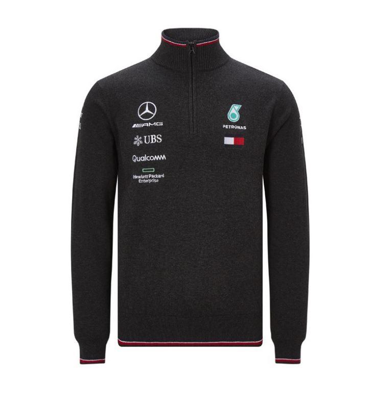 2019 Mercedes-AMG F1 Team Mens Half Zip Knitted Jumper Lewis Hamilton Hilfiger