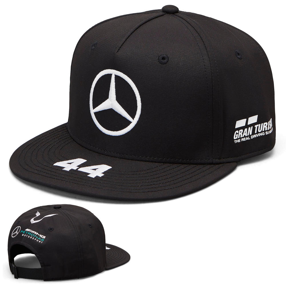 2019 Lewis Hamilton F1 Black Flatbrim Cap Official Mercedes-AMG Formula One Team