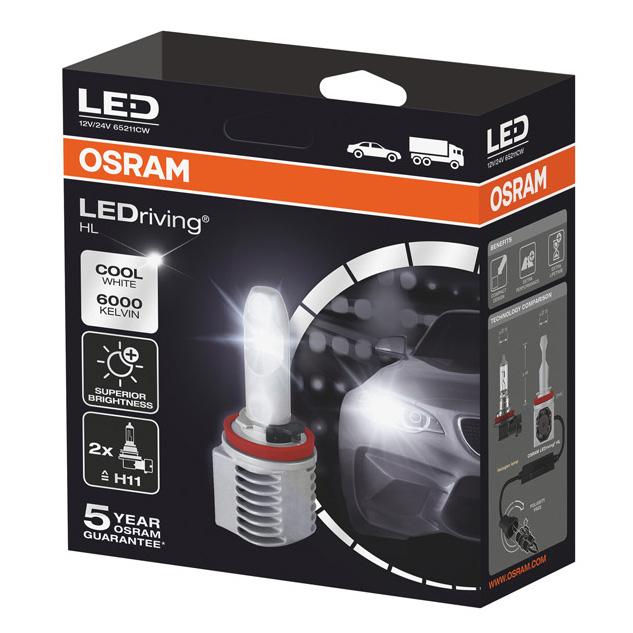OSRAM 6000K Cool White H11 LED Foglight Bulbs Fog Lamps Retrofit 65211CW 12/24v
