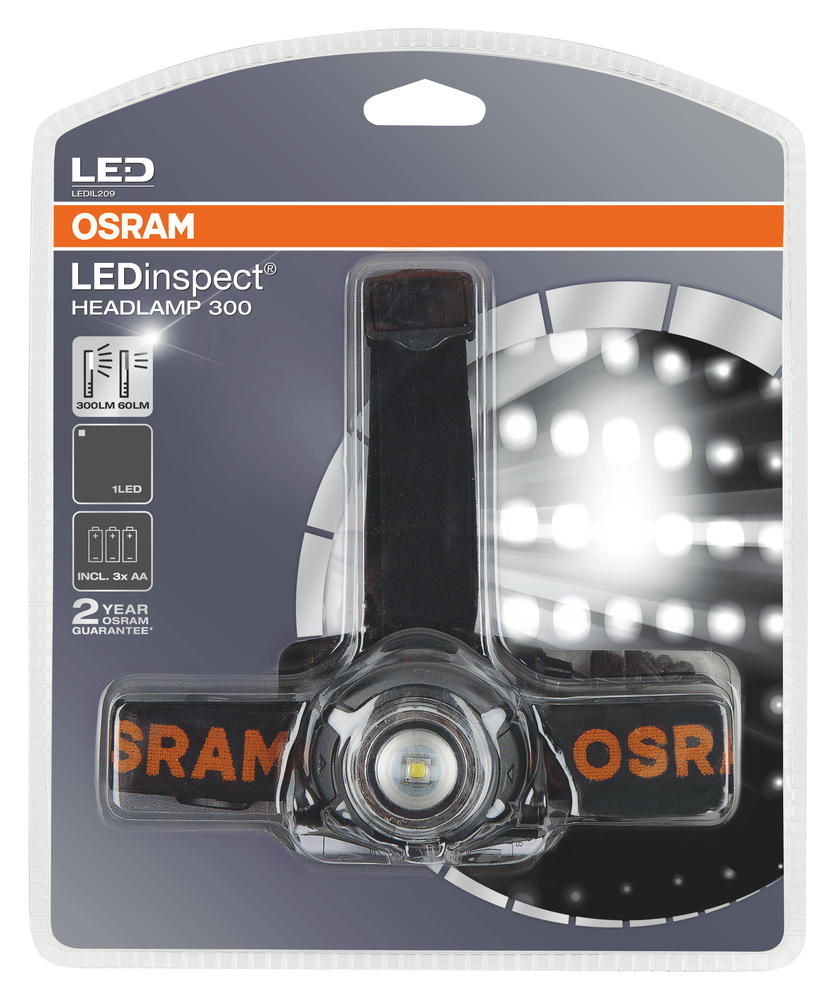 LEDIL209 OSRAM LEDinspect Premium HEADLAMP 300 Head Torch inc AA Batteries