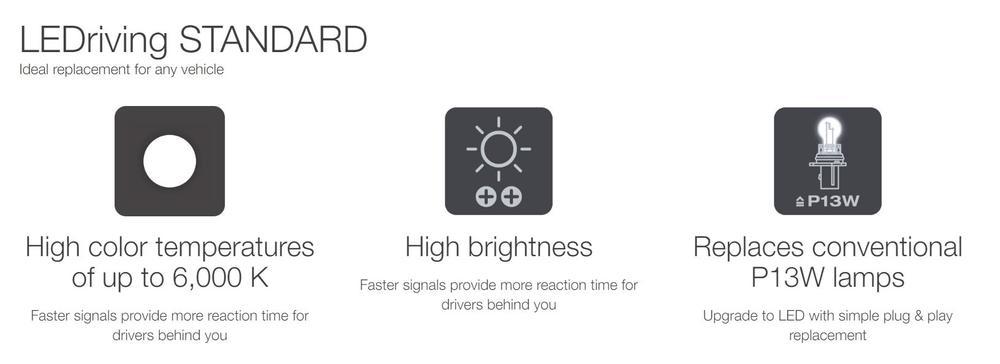 3828CW LED SL Cool White 6000K Bulb for DRL Daytime Running Lights Osram P13W
