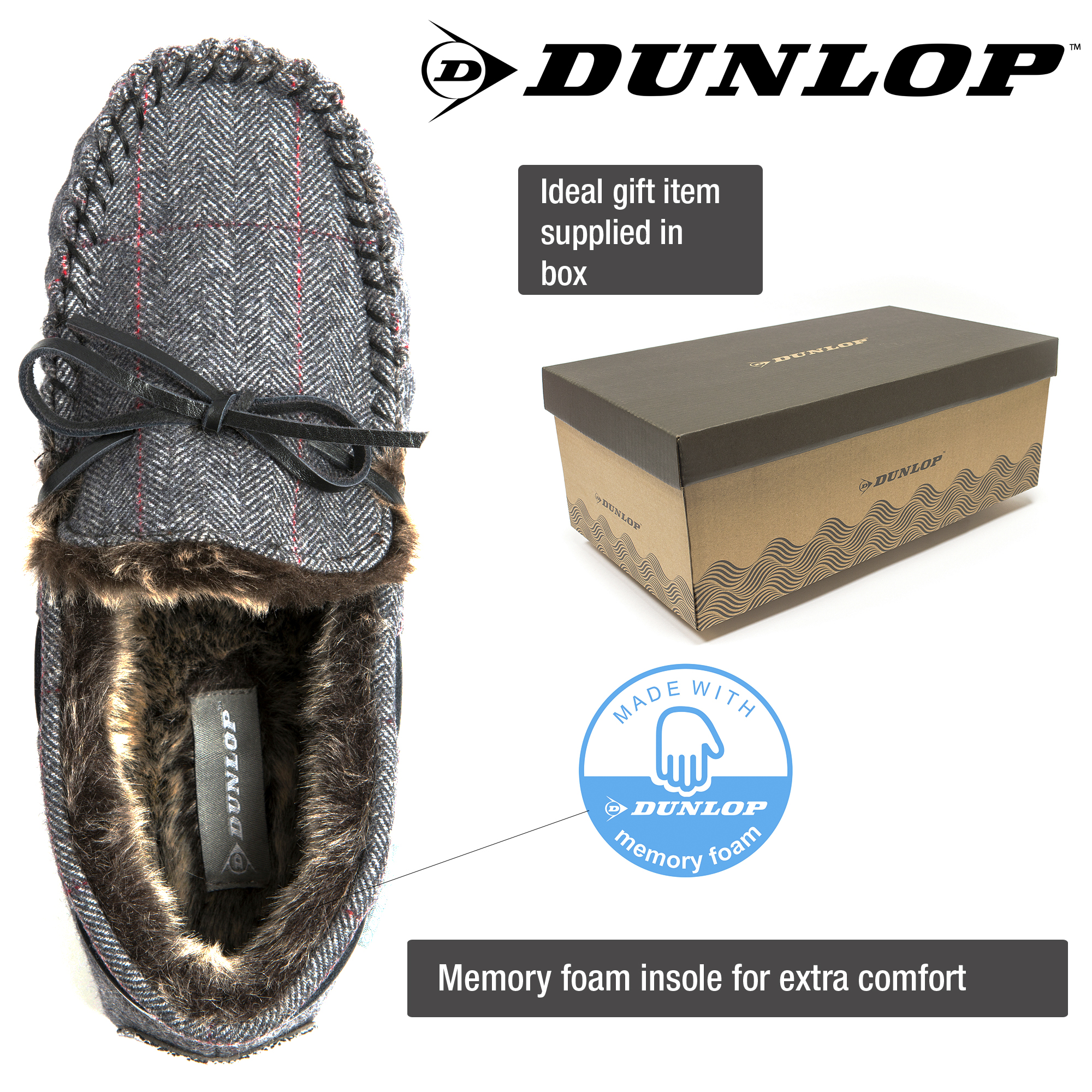 DUNLOP MENS MOCCASIN GENTS SLIPPERS FAUX FUR LINED COMFY MEMORY FOAM SIZES 7-12