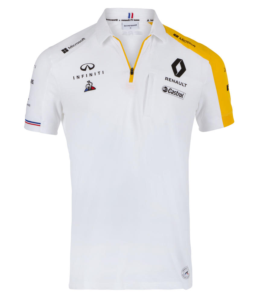 2019 Renault F1 Team Official Mens Polo Shirt WHITE Formula One Merchandise